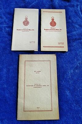1929-1938 Calendar, ByLaws: SOCIETY OF DAUGHTERS OF COLONIAL WARS MASSACHUSETTS