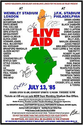 "Live Aid 1985 ""signed""  Box Office CONCERT POSTER Paul, Bowie, Mercury, Nash,++"