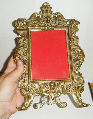 "1950s WHIMSICAL ITALIAN 11""SOLID BRASS CAST MANTEL PICTURE FRAME GARGOYLE ANGEL"