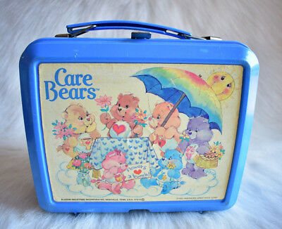 Vintage 1985 Care Bears Alladin Plastic Blue Lunch Pale American Greetings Corp