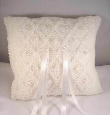 Wedding Ring Bearer Pillow - Knitted white with glass drops and roses - Handmade