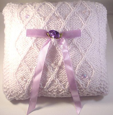 Wedding Ring Bearer Pillow - Knitted lilac with glass drops - Handmade