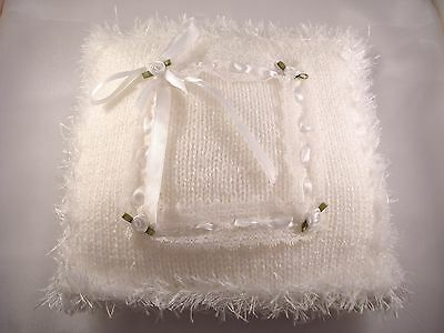 Wedding Ring Pillow - Knitted white with roses and ribbons - Handmade,RingBearer