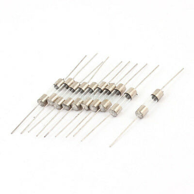 10 Pcs Axial Lead Fast Acting 5 x20mm Glass Fuse Tube 250V 15A Silver Tone Clear