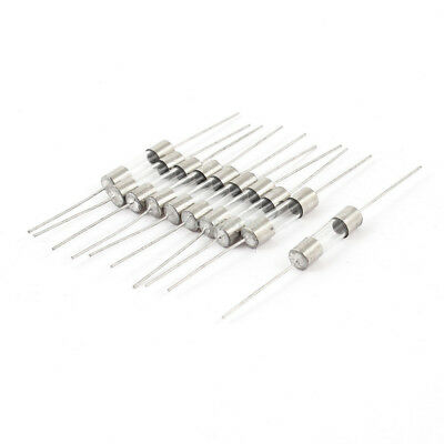 10 Pcs 5mmx 20mm Axial Leads Fast Acting Glass Fuses Tube 1Amp 250V Silver Tone