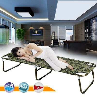 Camouflage Folding Bed Portable Lounger Cots Camping Hiking Picnic 70Inch Long