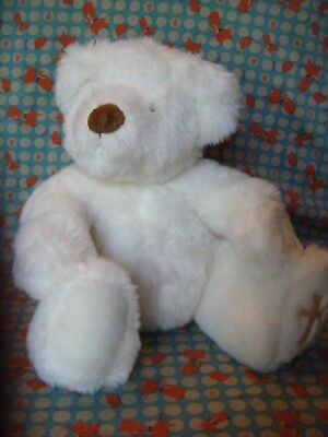 "Russ Berrie "" Believe "" White  Teddy Bear  11""  Approx  Cross On Foot"