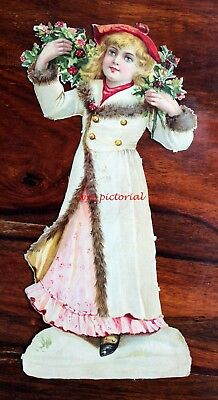 V Large Victorian Die Cut Embossed Scrap Christmas Pretty Girl Holly 29 Cm Tall