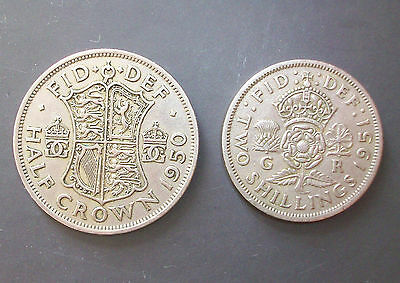 George Vi 1950 Half Crown & 1951 Two Shilling Piece - 2 X Coins