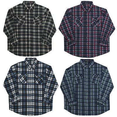 Mens Check Micro Fleece Lumberjack Warm Winter Gents Casual Work Shirt Brushed