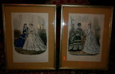 Fantastic Framed Pair Antique French Bridal Fashion Plates  Excellent Condition