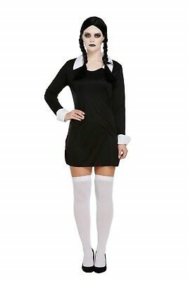 Halloween Fancy Dress Up Costume Adult Wednesday Addams Scary Daughter Outfit