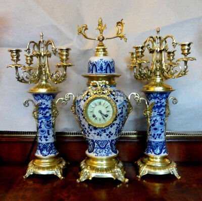Large Antique French Mantel Garniture Clock with Bronze Mounts, Delft ,Late 19c