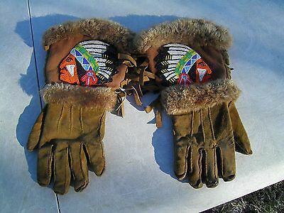 1940Cree Caribou Hide Hand Made Gaulets or Gloves, With Beaded Chiefs on Front,