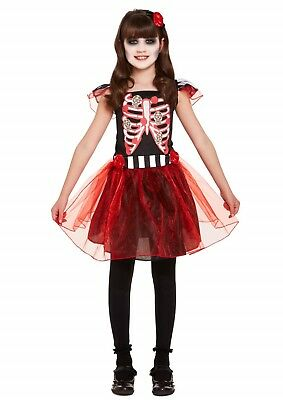 Halloween Fancy Dress Up Costume Outfit Party Girl Skeleton Dressing Up NEW
