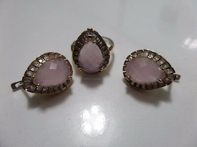 925 Sterling Silver Handmade Jewelry Pink Chalcedony Earrings & Ring Ladie's Set