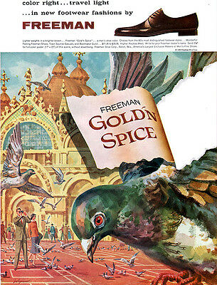 Freeman Gold'n Spice Shoes SAN MARCO SQUARE ITALY Doves TRAVEL LIGHT 1960 Ad