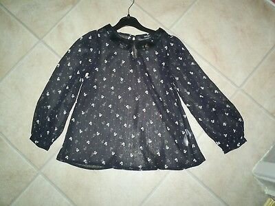 "Girls ""George"" Black Sequin Collar/White Squirrel Print Blouse for Age 6-7 years"