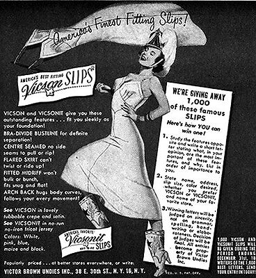 Vicson Slip VICTOR BROWN UNDIES Marching Girl in Cowboy Boots GGA 1948 Print Ad