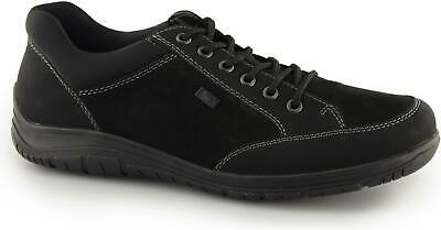 Rieker B6501-00 Mens Faux Leather Lace Up Casual Comfort Trainers Shoes Black