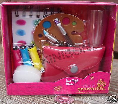 """Our Generation 18"""" Doll Just Add Water Artist Painter Palette Water Color Brush"""