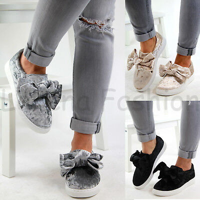 New Womens Flat Bow Sneakers Velvet Comfy Slip On Trainers Casual Pumps Shoes