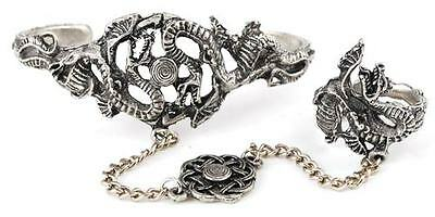 Pewter Dragon Slave Bracelet w Ring & Celtic Knot Centerpiece Rounded Pagan Rena