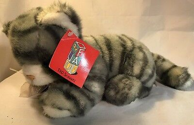 "Vintage FAO Schwarz Grey Striped Cat Tabby Plush Stuffed Animal 10"" Grey"