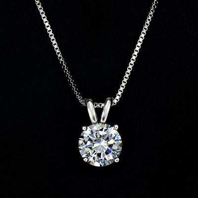 2 Ct diamond Round Brilliant Cut 14k GP Solitaire Pendant Necklace pendant