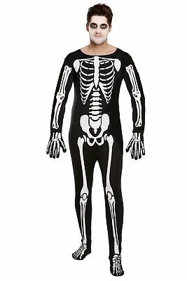 Halloween Fancy Dress Up Outfit Costume Adult Skeleton One Size Male Man NEW