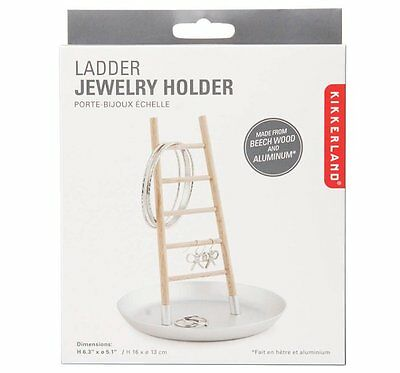 Kikkerland LADDER JEWELLERY HOLDER with DISH Ring Organiser WOOD Metal
