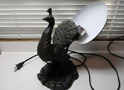 Vintage Shabby Art Deco Style Heavy Metal Peacock Table Bedroom Lamp Electric