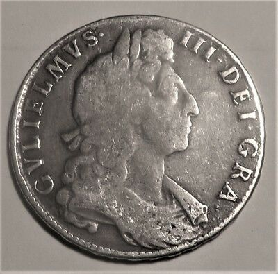 Great Britain 1697 King William III Full Silver Half Crown