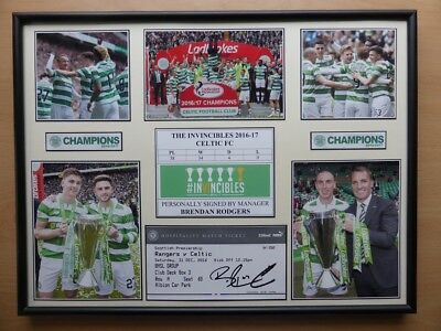 2016-17 Celtic The Invincibles Unique Display Signed by Brendan Rodgers (11499)