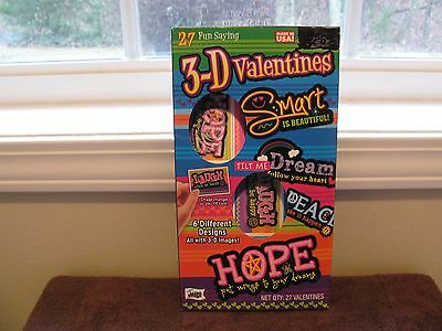 """3-D 27 Valentines Cards ~6 Different Designs~ """"New In Box"""""""
