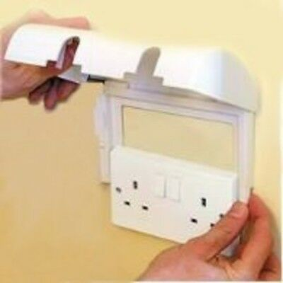 Electrical Plug Socket Protector Double Cover Safety for Children White 1 Pack
