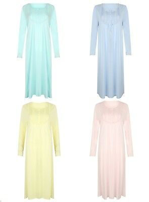 M&S Ladies Luxury Nightdress Nighty Long Sleeve Shirt Full Length 4 Colours 8-26