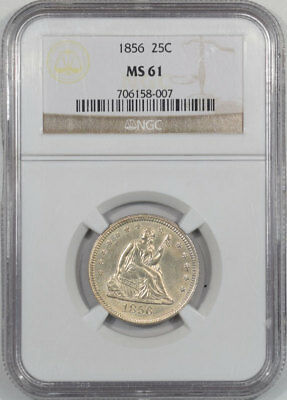 1856 Liberty Seated Quarter Ngc Ms-61. From The Reeded Edge!