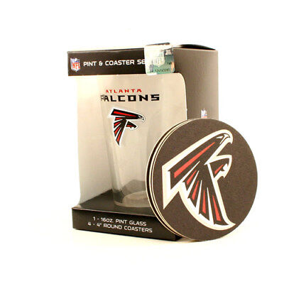 Atlanta Falcons 16-Ounce Pint Glass & 4 Coasters Gift Set