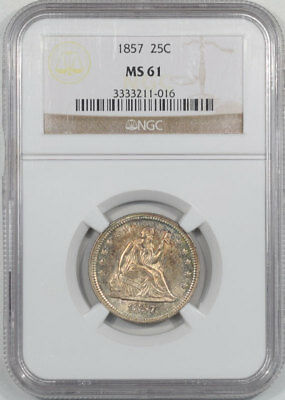 1857 Liberty Seated Quarter Ngc Ms-61. From The Reeded Edge!