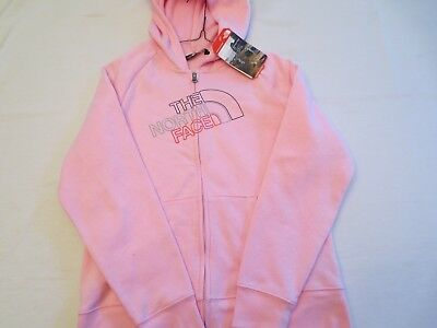 The North Face Logowear Full Zip Hoodie Pink Tnf Girls Size Xl 18 Nwt