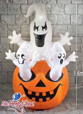 1.6M GIANT LIGHT UP INFLATABLE GHOSTS ON PUMPKIN Halloween Party Prop 167029