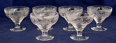 Set of 6 Vintage STUART CRYSTAL Dessert Coupes - Etched Grape & Vine