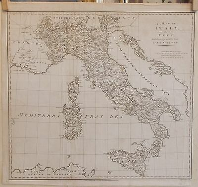 Incisione mappa map Italia Robinsons 1796