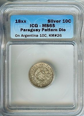 RARE PARAGUAY 18xx 10 CENTS ON ARGENTINA 10C -PATTERN DIE- IGS MS65 PnB37