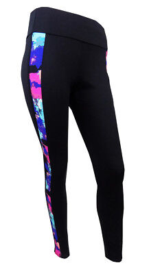 Ex M&S Ladies Joggers Bottoms Trousers Black printed panel Gym Sports Training