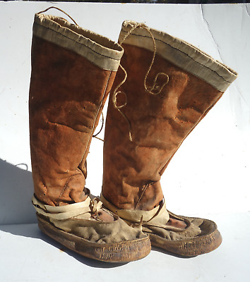 Pair of Old Native American/Inuit Hide Moccasins/Boots