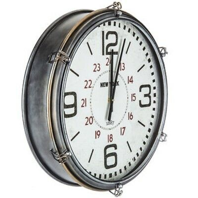 Vintage Inspired Industrial Large Round Wall Clock Shabby Chic  Country-Chic New
