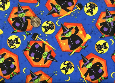 Halloween Witch Black Cat Yellow Moon Stars on Blue Cotton Fabric  BTY