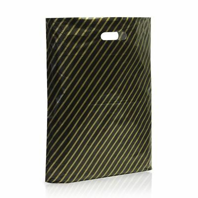 100 X Black and Gold Striped Plastic Carrier Bags Stripe 9''x11'' Boutique Shop